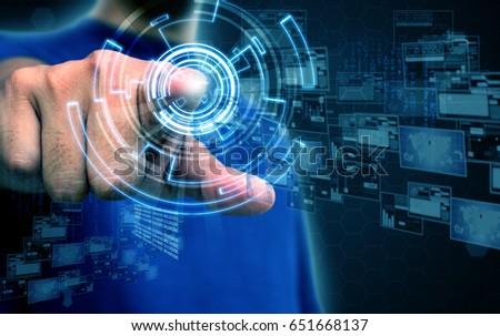 businessman press touchscreen #651668137