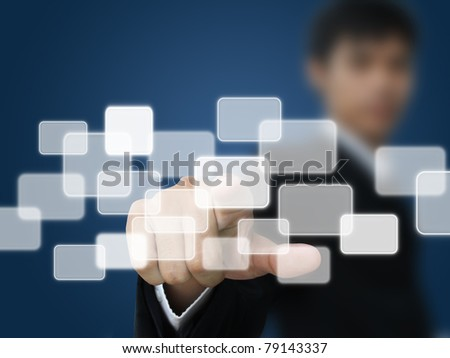 Businessman press touchscreen