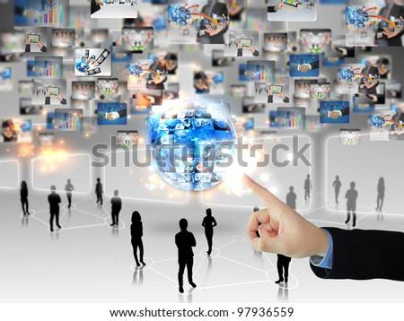 Businessman press touchscreen