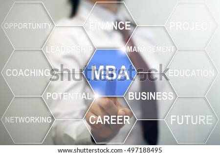 Businessman presses mba icon in of hexagon. Woman touched master of business administration sign. Business concept, internet technology. Choosing MBA program for outstanding career. Finance, network. #497188495