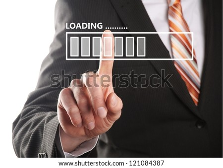 businessman pressing a button and waiting for the loading progress