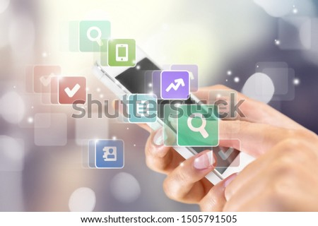 Businessman pressing application button on computer with touch screen #1505791505