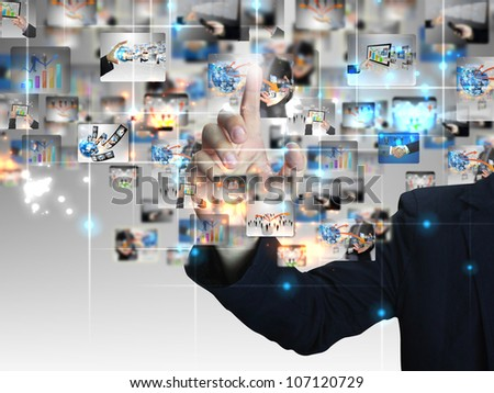 Businessman pressing business communication