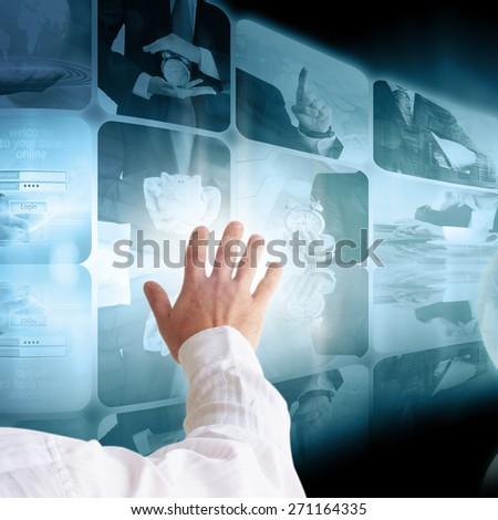 Businessman pressing business communication #271164335