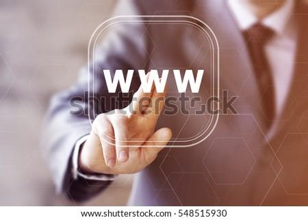 Businessman pressing button www web icon. Concept www internet network. #548515930