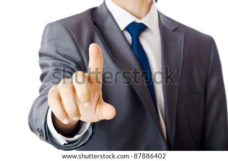 Businessman pressing buttons in the air