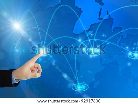 Businessman pressing digital button