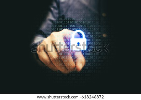 Businessman pressing lock icon with binary code, cyber security concept.