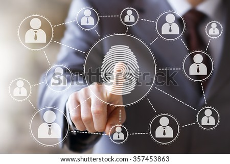 Businessman pressing modern technology web panel with fingerprint print