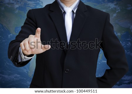 Businessman pressing on the whiteboard
