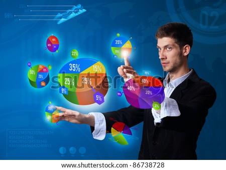 Businessman pressing pie chart button, futuristic technology