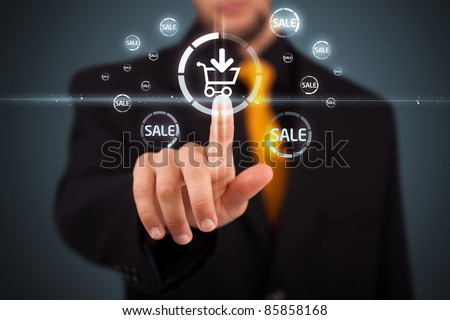 Businessman pressing promotion and shipping type of modern buttons #85858168