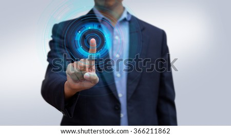 Businessman pressing screen virtual interface. Abstract modern technology. Businessman hand working computer interface.