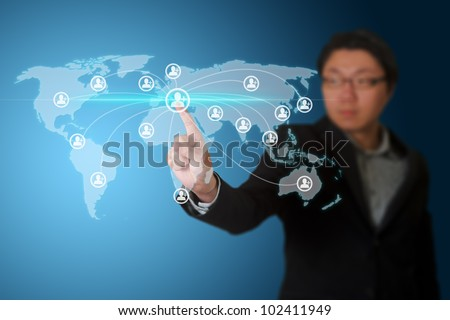 Businessman pressing simple start buttons on a touch screen