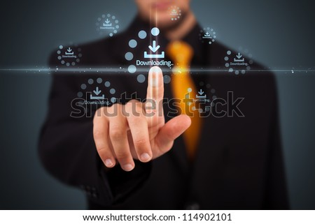 Businessman pressing simple start buttons on a virtual background #114902101