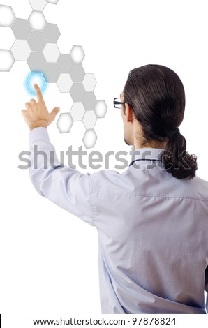 Businessman pressing virtual buttons