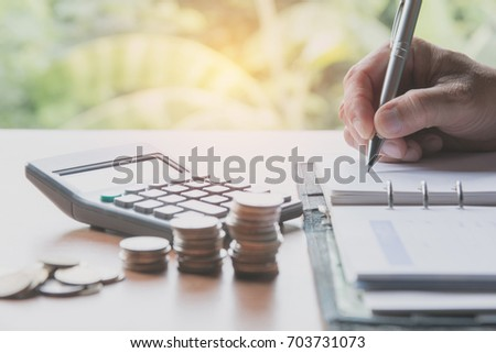 Businessman process. Businessman working the project on table soft focus #703731073