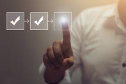 Businessman process workflow illustrating management approval