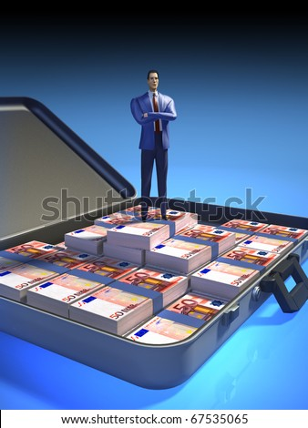 Businessman proudly standing in a case full of money. Digital illustration, clipping path included.