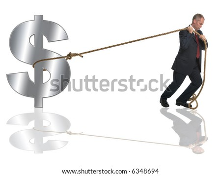 Businessman pulling along a silver dollar by a length of rope.