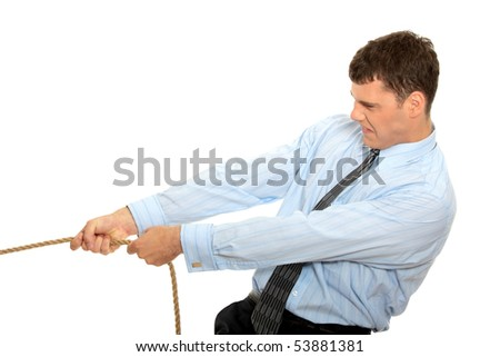Businessman pulling on a piece of rope. Isolated on white