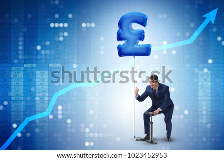 Businessman pumping british pound sterling sign in business conc