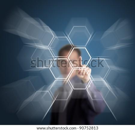 businessman push a touch screen button