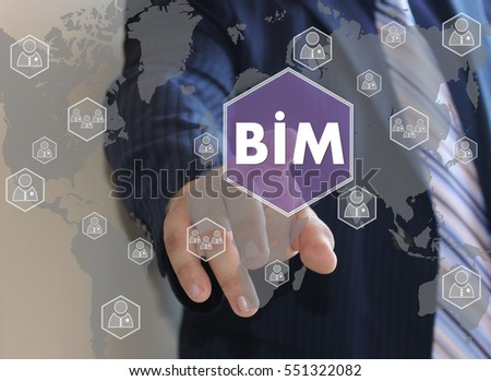 Businessman push button icon, BIM, building information modeling on the touch screen in the web network.  #551322082