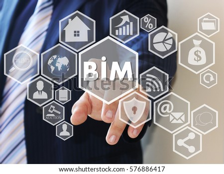 Businessman push button icon, BIM, building information modeling on the touch screen in the web network.  #576886417