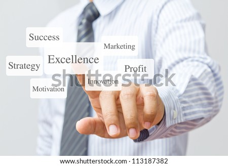 Businessman push excellence button