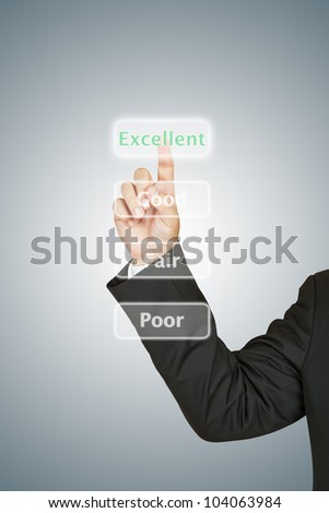 Businessman push excellent button
