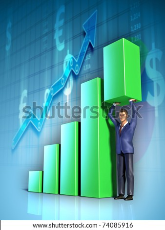 Businessman push with its hands the highest section of a bar graph. Digital illustration.