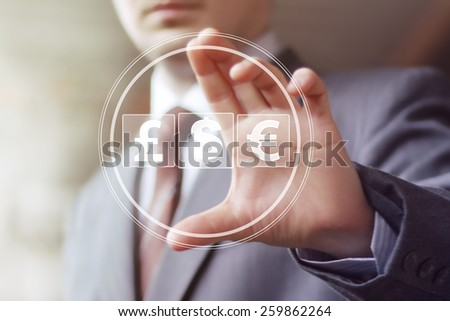 Businessman pushing button with dollar currency web icon #259862264