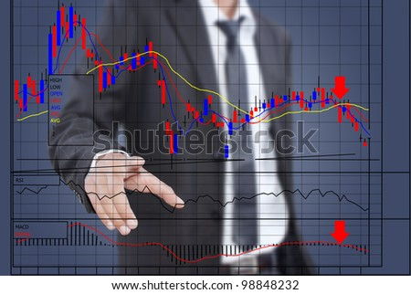 Businessman pushing finance graph for trade stock market on the whiteboard.