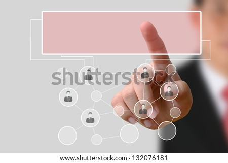 Businessman pushing human button and Social Network on the white background