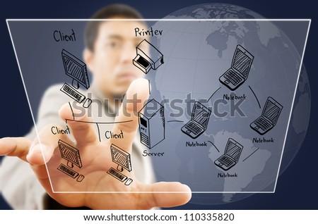 Businessman pushing LAN Network diagram on the Touchscreen Interface.
