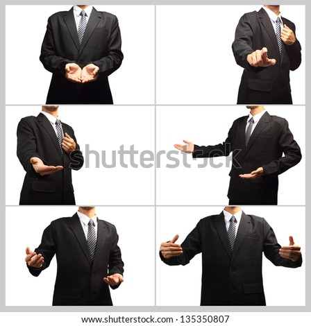 Businessman pushing on a touch screen interface, Collage template isolated on white background for design work
