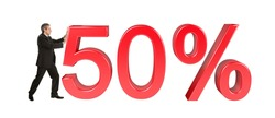Businessman pushing 50% sale sign. Isolated on white background
