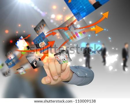 Businessman pushing social media