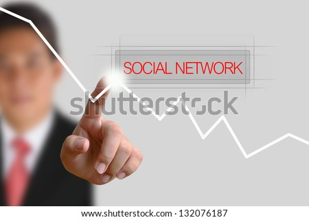 Businessman pushing Social Network button on the white background