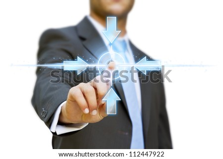 Businessman pushing solution button concept
