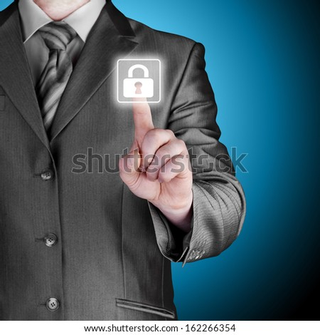 Businessman pushing virtual security button on digital background #162266354