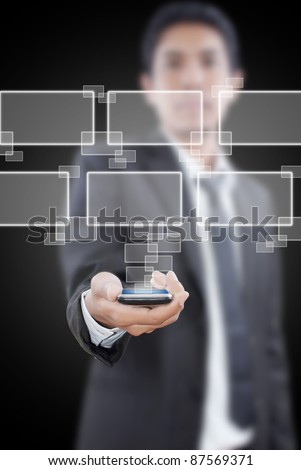Businessman putting touch screen mobile phone with button.