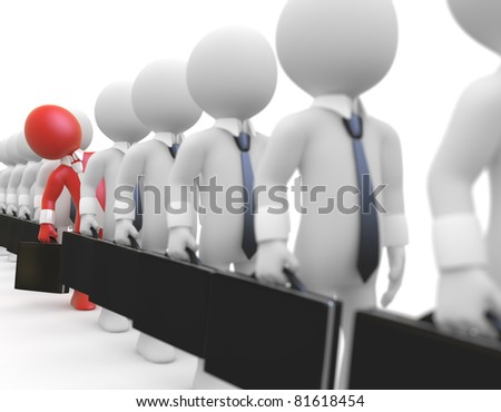Businessman queuing with a briefcase in hand - stock photo