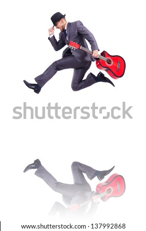 Businessman quitar player isolated on white - Shutterstock ID 137992868