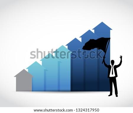 businessman raises flag over a blue business graph. illustration design over white
