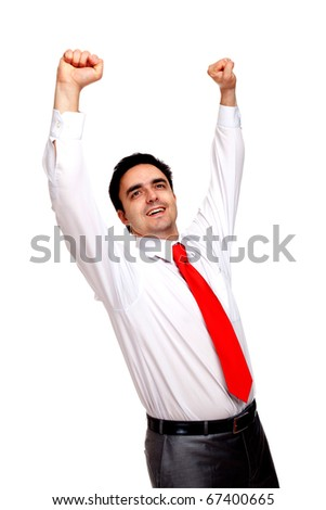 Businessman raising hands in success, isolated on white