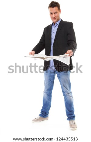 Businessman reading a newspaper full length isolated on white background