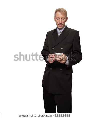 Businessman reading an email on his phone