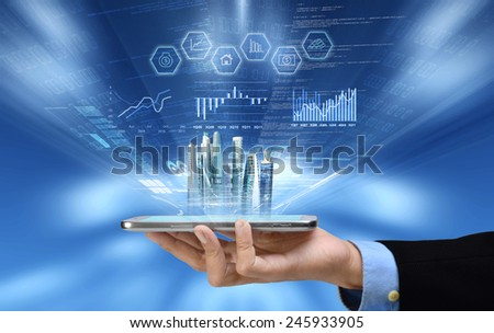 Businessman reading business or financial report on smart phone concept via internet connection